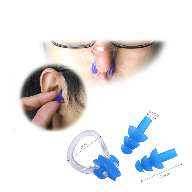 Swimming Essential Tool Soft Silicone Swimming Nose Clips + 2 Ear Plugs Earplugs Gear Pool Accessories Water Sports