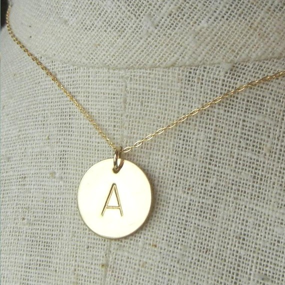 free shipping gold initial necklace kim shin necklace simple manual stamping necklace charm necklace