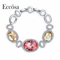 ECCOSA Round Shape Crystal From Swarovski Bracelets Bangles Irregular Link Bracelet Fashion Jewelry For Wonder Women