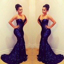 2015 New Arrival Royal Blue Sweetheart Mermaid Sequins Long Formal Prom Evening Dresses