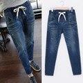 Бесплатная доставка 2016 новый жира большой размер fit джинсы стрейч высокой талии свободные прямые Случайные saches длинные Брюки