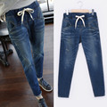 free shipping 2016 new fat  large size fit jeans stretch high waist  loose straight Casual saches long Pants