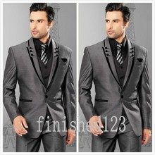 Fashionable One Button Grey Groom Tuxedos Groomsmen Men's Wedding Prom Suits Custom Made (Jacket+Pants+Vest+Tie) K:69