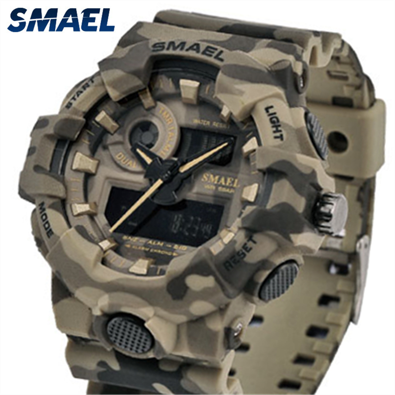 Top Brand Luxury SMAEL LED Digital Quartz Watch Men Camouflage Waterproof Shock Resistant Mens Sport Watces Relogio Masculino S smael 1708b