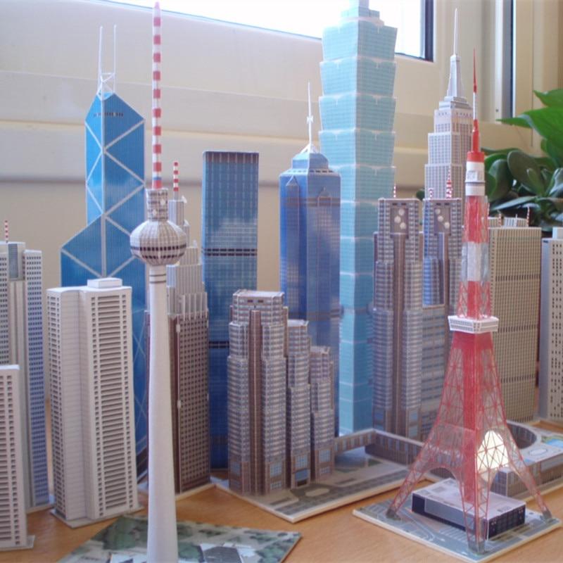 Christmas Toy Set DIY 3D Famous Skyscraper Buildings Educational Paper Model Puzzles For Adults&Children Home Bar Decoration Toy