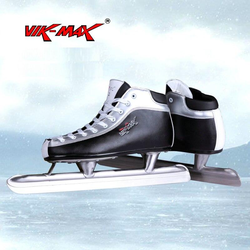 VIK-MAX véritable En Cuir pas cher de vitesse sur glace skate chaussures avec en acier inoxydable glace lame seulement USA 9 taille laisser vente vitesse skate chaussures