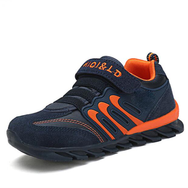 Children Cow suede Sports Shoes Boys Breathable Genuine Leather Shoes Girls Soft Mesh Anti slip Sneakers|Sneakers| |  - title=