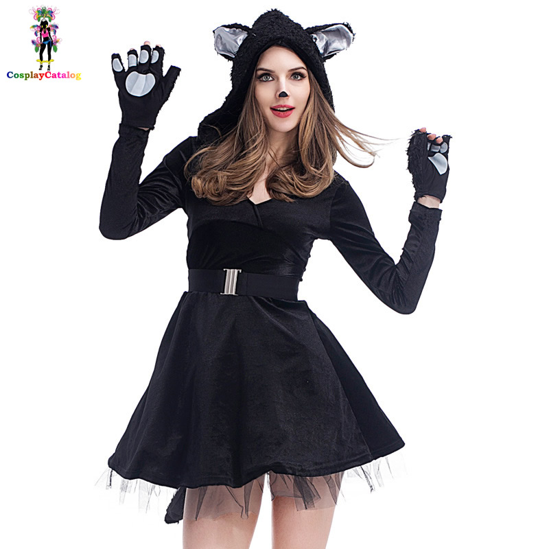 5f5b8f95c89 Deluxe Black Feline Bandit Dresses Sexy Cat Burglar Costumes For Women  Catwoman Animal Outfit Clothes Size M L XL. Price