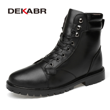 DEKABR New Winter Men Snow Boots Genuine Leather Boots Men High Top Casual Shoes Lace-Up Waterproof Ankle Boots For Men