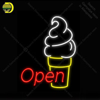 Open Ijsje NEON LIGHT SIGN Neon Sign Versieren Hotel GLAZEN Buis BEER PUB Pub Store Display Handwerk Iconische teken lichten-in Neon Lampen & Buizen van Licht & verlichting op