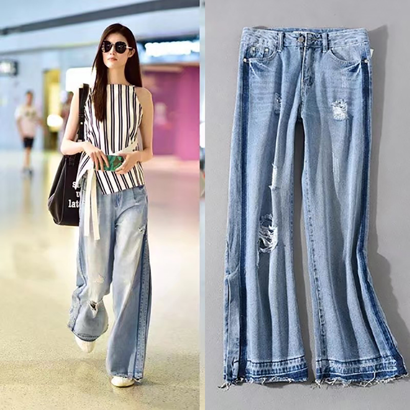 High Waist Thin Raw Edge Hole High Street Style Spring And Summer Wide Leg Jeans Casual Fashion All-Match Show Long Legs Pants 2017 spring and summer new fashion trend splicing hole straight jeans large size loose wide leg nine points pants burr hl0018