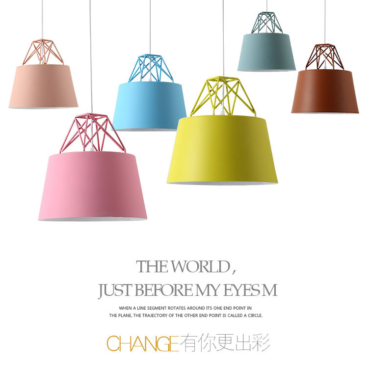 Nordic macarons Chandelier Modern Simple Restaurant Personality Creative Cafe Bar counter study kitchen Iron lamp led light E27