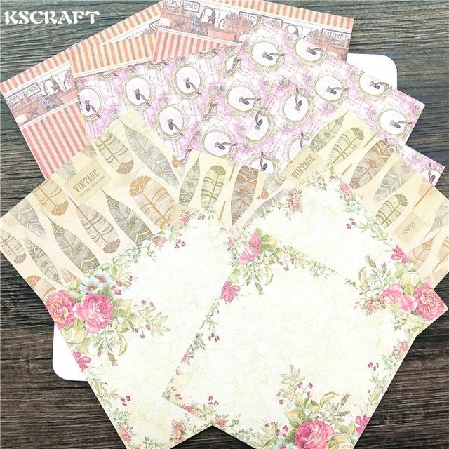 KSCRAFT 6 ''깃털 꽃 패턴 장식 스크랩북 종이 12 세트 시트 인쇄 배경 공예 종이
