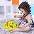 Divertido juguete educativo de madera montessori gordon apple picking juego colorido árbol frutal clip bolas coordinación ojo-mano juguete