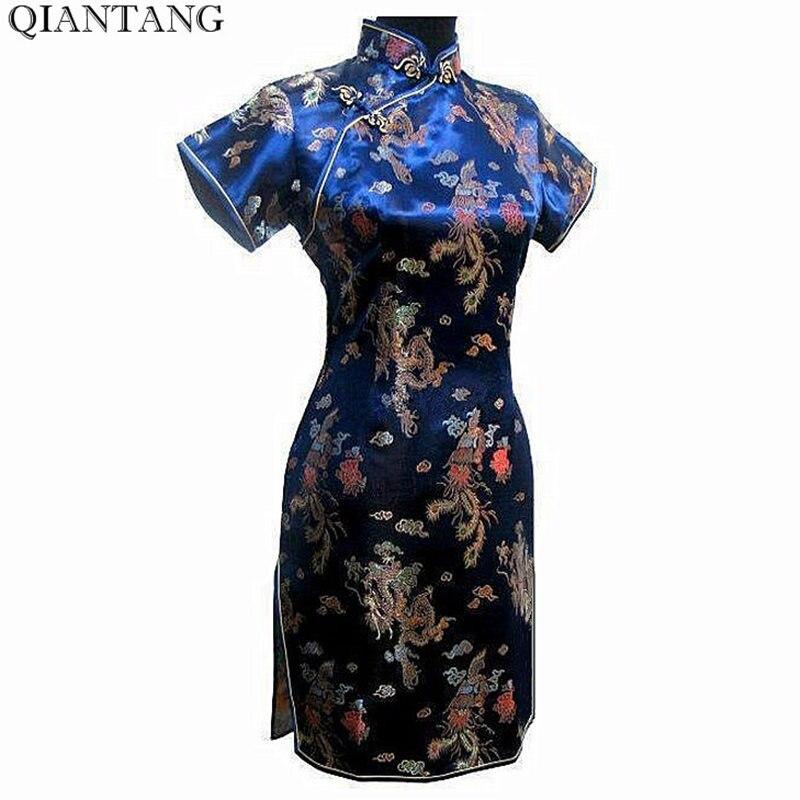 Offre spéciale Marine Bleu Chinois Femmes Mini Cheongsam Qipao Robe ropa mujer Dragon Phenix Taille M L XL XXL 3XL 4XL 5XL 6XL J3093