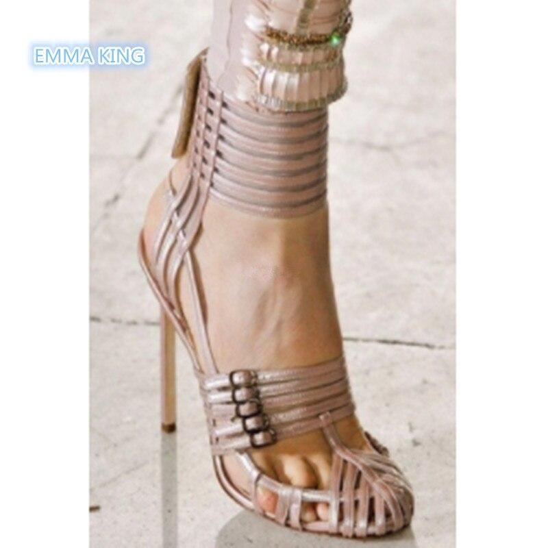 Dames Ceinture Hauts Picture De as Catwalk Bout Picture Sexy Roi Femmes Rond Sandalias Mince Partie Talons Mujer Sandales Creux As Chaussures Boucle Emma Mode SUwZq1BWz