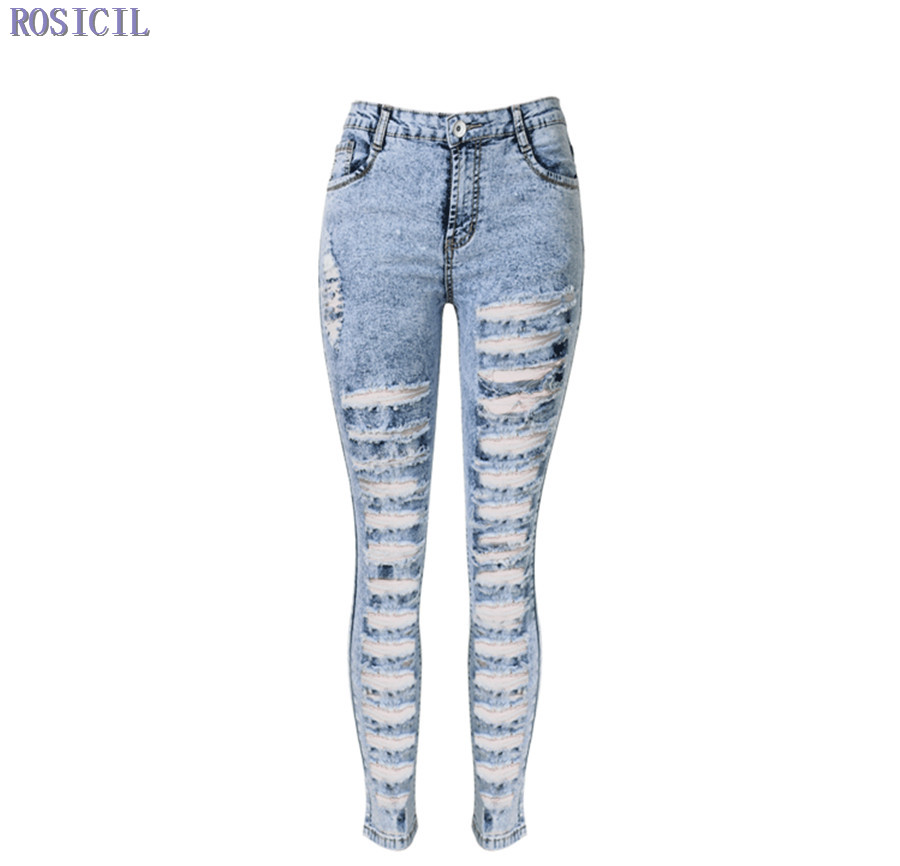 9724c48d4bf1 ROSICIL New Designer Denim Women 2016 High Waist Ripped Jeans for Women  Skinny Jeans Woman Elastic Slim Jean Female Femme