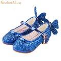 Brilho de lantejoulas Meninas Borboleta Cinderela Crianças Sapatos De Dança Princesa sapatos de Couro Sapatos de Salto Alto Para A Festa de Casamento Bombas Sandálias