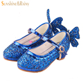 Sequin Glitter Girls High Heels Cinderella Butterfly Kids Dance Shoes Princess Leather Shoes For Party Wedding Sandals Pumps