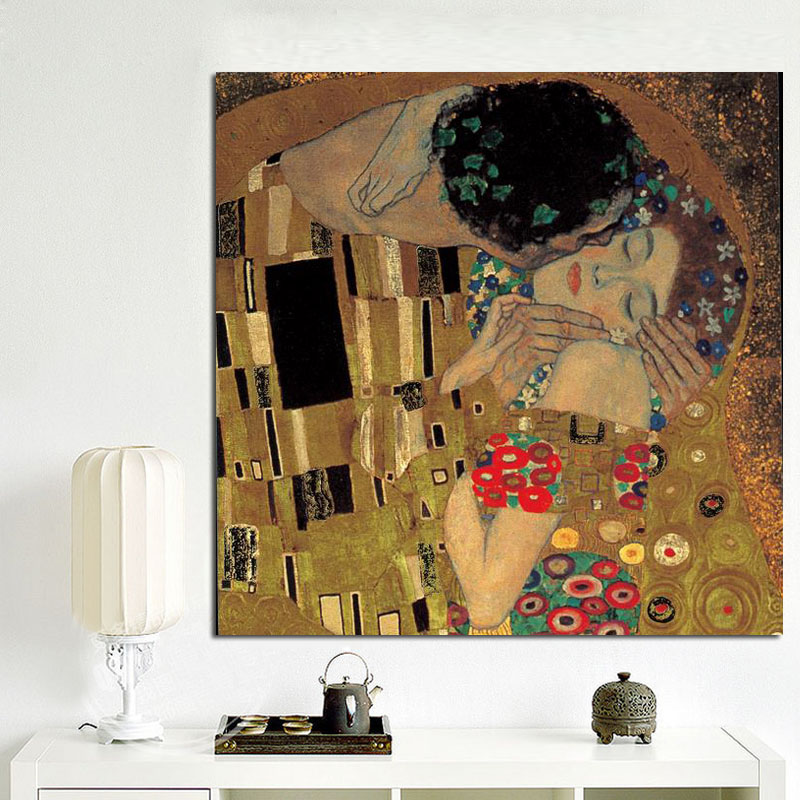 Gustav Klimt Kiss Portrait Classic Painting Abstract Collection Canvas Art Prints And Poster Modern Wall Picture For Home Decor