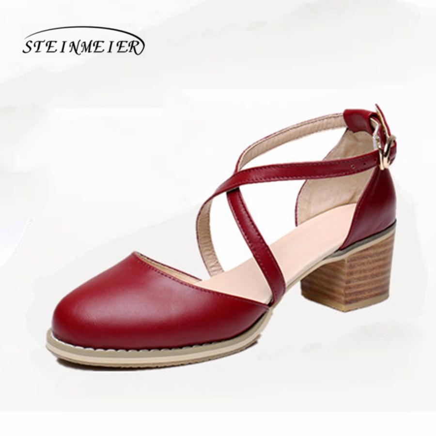 Women summer Oxford sandals shoes Genuine leather ladies heel Strap gray Sandals woman 2019 buckle handmade