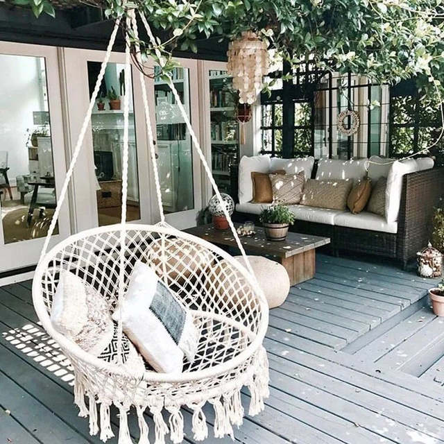 Handmade Knitted Swing Chair Outdoor Cotton Rope Patio Garden Hammock Perfect For Indoor