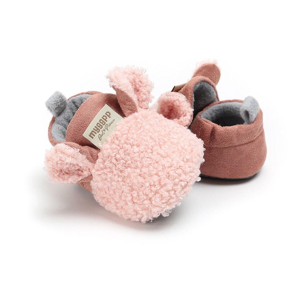2018 Brand New Toddler Newborn Baby Crawling Shoes Boy Girl Lamb Slippers Prewalker Trainers Fur Winter Animal Ears First Walker 4