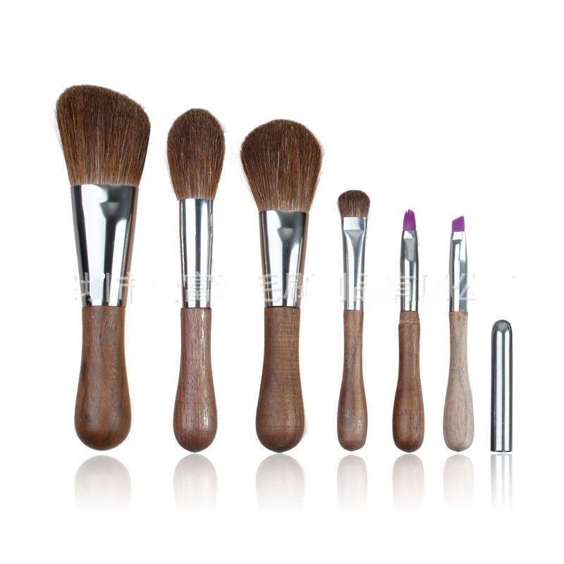 Высококачественные, из эбонита ручки высокого качества древесины козы кисточка для пудры набор кистей для макияжа 6 шт. наборы