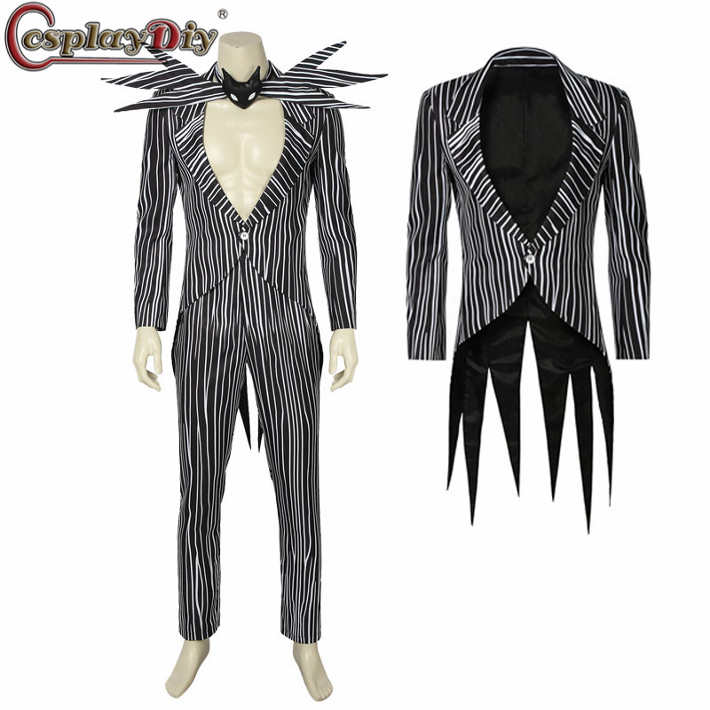 Cosplaydiy The Nightmare Before Christmas Jack Skellington Cosplay Costume Carnival Halloween Costume Fancy Black Stripe Suit