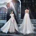 Manga Longa De luxo Do Casamento Do Laço Handmade Vestidos robe de mariage botão de Volta Frisado vestido de noiva de renda 2017 vestido de Noiva vestidos