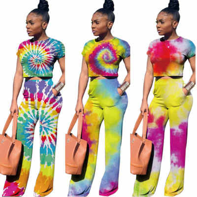2019 European and American round neck short-sleeved shirt painted suit pants two-piece suit for lady free shopping