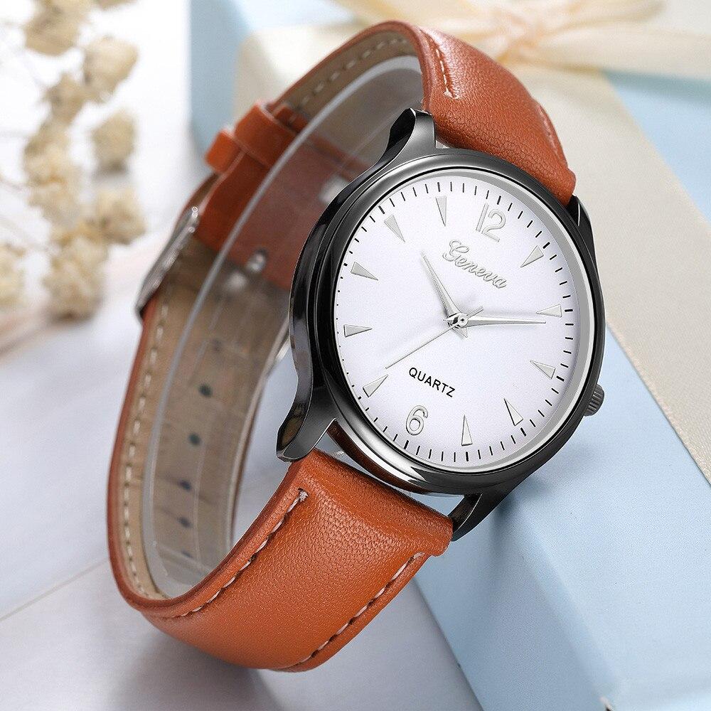 Men Watches Luxury Fashion Faux Leather Blue Ray Glass Quartz Analog Watches Reloj De Hombre Zegarki Meskie Relogios Masculino