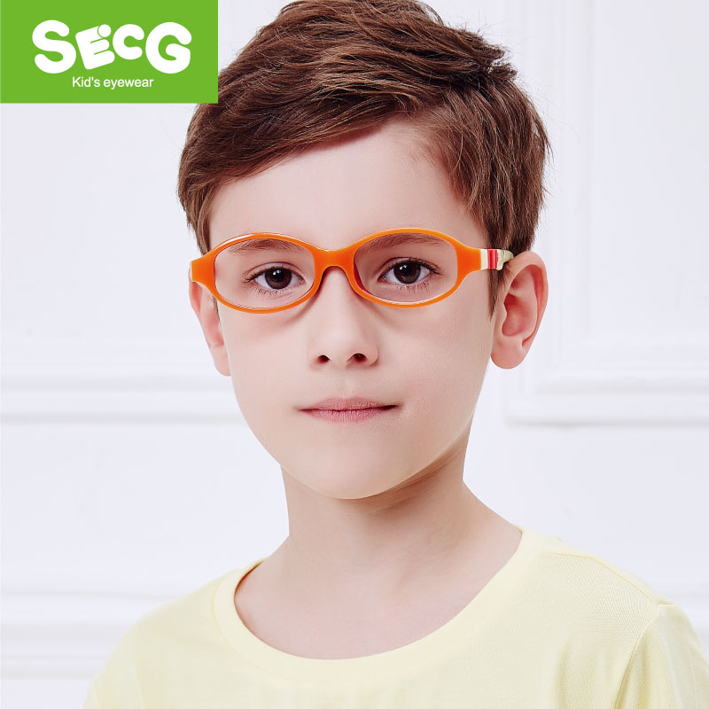 SECG Flexible Soft Kids Frame Detachable Solid Cute Children Glasses Frame Optical For Sight Lunettes Spectacle Frame Rubber