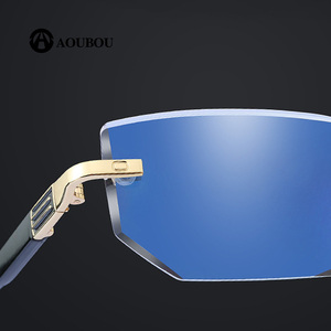 Image 2 - 抗疲労抗青色光ダイヤモンドトリミングクリスタルクリア超軽量リムレス携帯電話の老眼鏡 2019 新