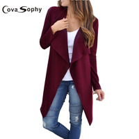 Cova Sophy 2017 Autumn Winter New Casual Women Sweater Knitted Cardigan Long Sleeve Solid Color Cardigans