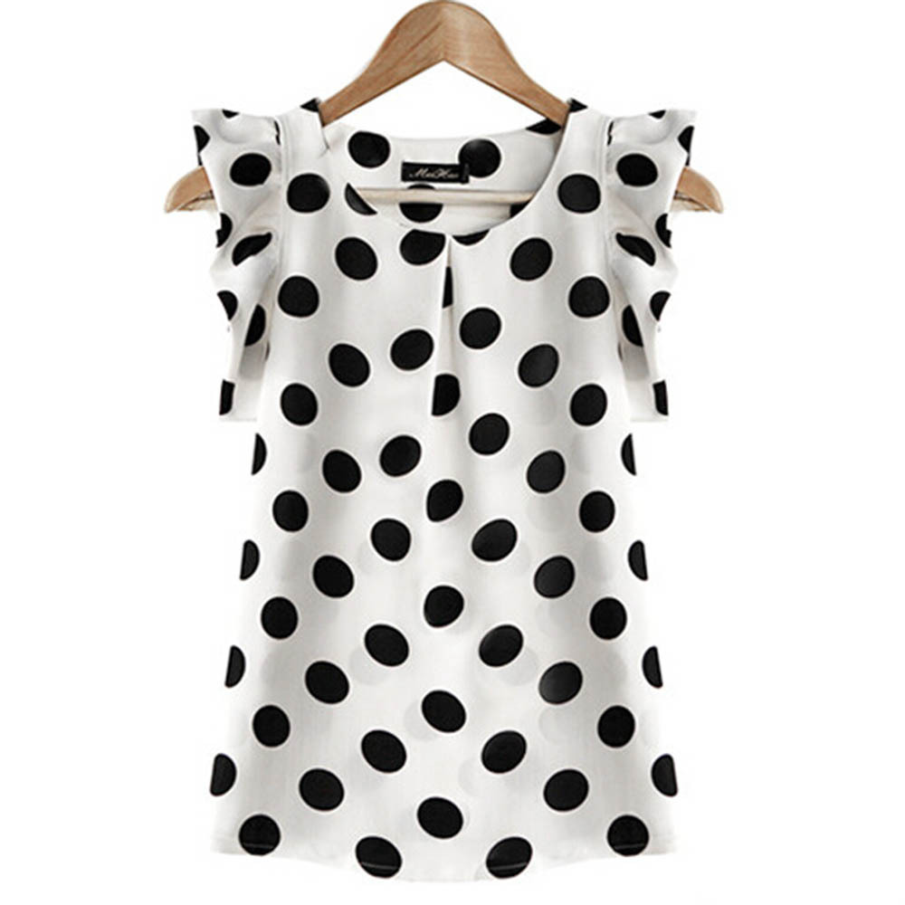Jlong Summer Womens Casual Shirt polka dot ruffled pleated chiffon shirt female short-sleeve top female New Z1
