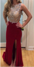 Sparkly New Real Burgundy Prom font b Dresses b font 2015 Backless Slits Out Sexy font