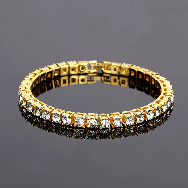 Gold Color hip-hop bracelet a row Simulated diamonds shiny rhinestone punk  style men s bracelet classic jewelry wholesale 5d56ce207