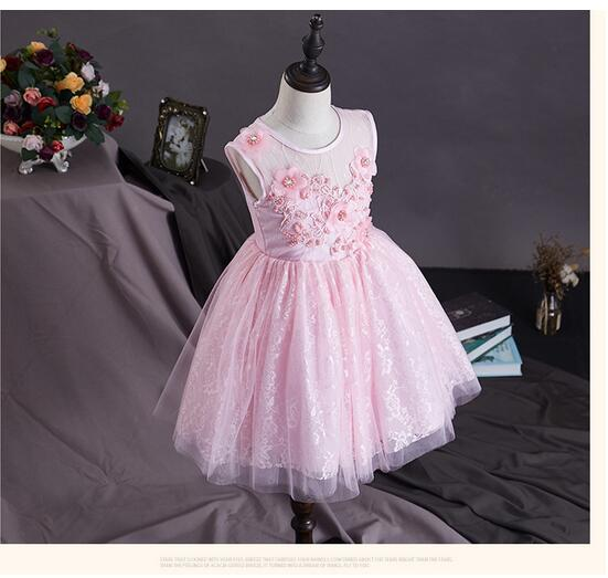 Girls Pageant Formal Dresses 2017 Sleeveless Flowers Gauze Girls Princess Vest Tutu Dress Kids Birthday Wedding Dresses 3-10Y baby girls pageant formal dresses 2017 flowers vest satin infant girls princess tutu dress gauze kids birthday wedding dresses