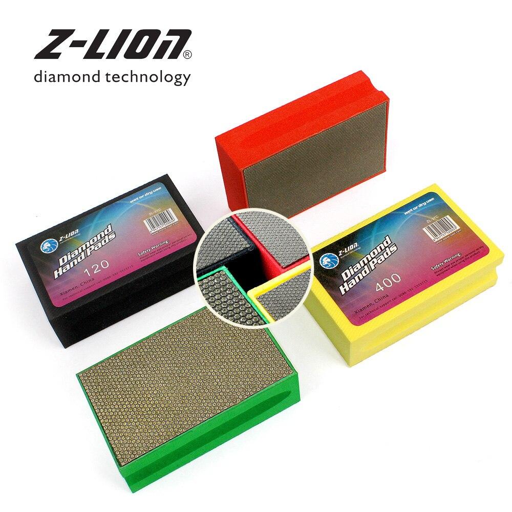 Z LEAP 4pcs Set Diamond Hand Polishing Pads Foam Backed Electroplated Diamond Sanding Pad For Glass