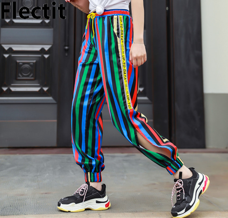 Flectit Bright Color Block Striped Jogger Pants Street Style Sweatpants Track Pants With Elastic Waist Side Split Pants Women