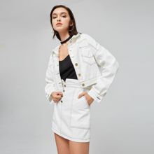 42045c9922 Sisjuly las mujeres otoño primavera blanco traje de dos piezas de conjunto  de bolsillo cultivo Denim chaqueta abrigo + cintura a.