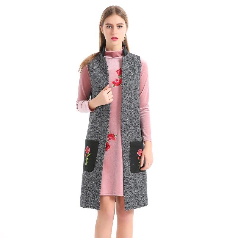 Casual Long Cashmere Women Vest Appliques Office Workwear WaistCoat Turn down Collar Spring Autumn Vest