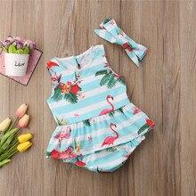 Одежда для новорожденных девочек полосатый комбинезон без рукавов с цветочным принтом фламинго и круглым вырезом, с оборками и бантом, повязка на голову, 2 предмета, хлопковая детская одежда