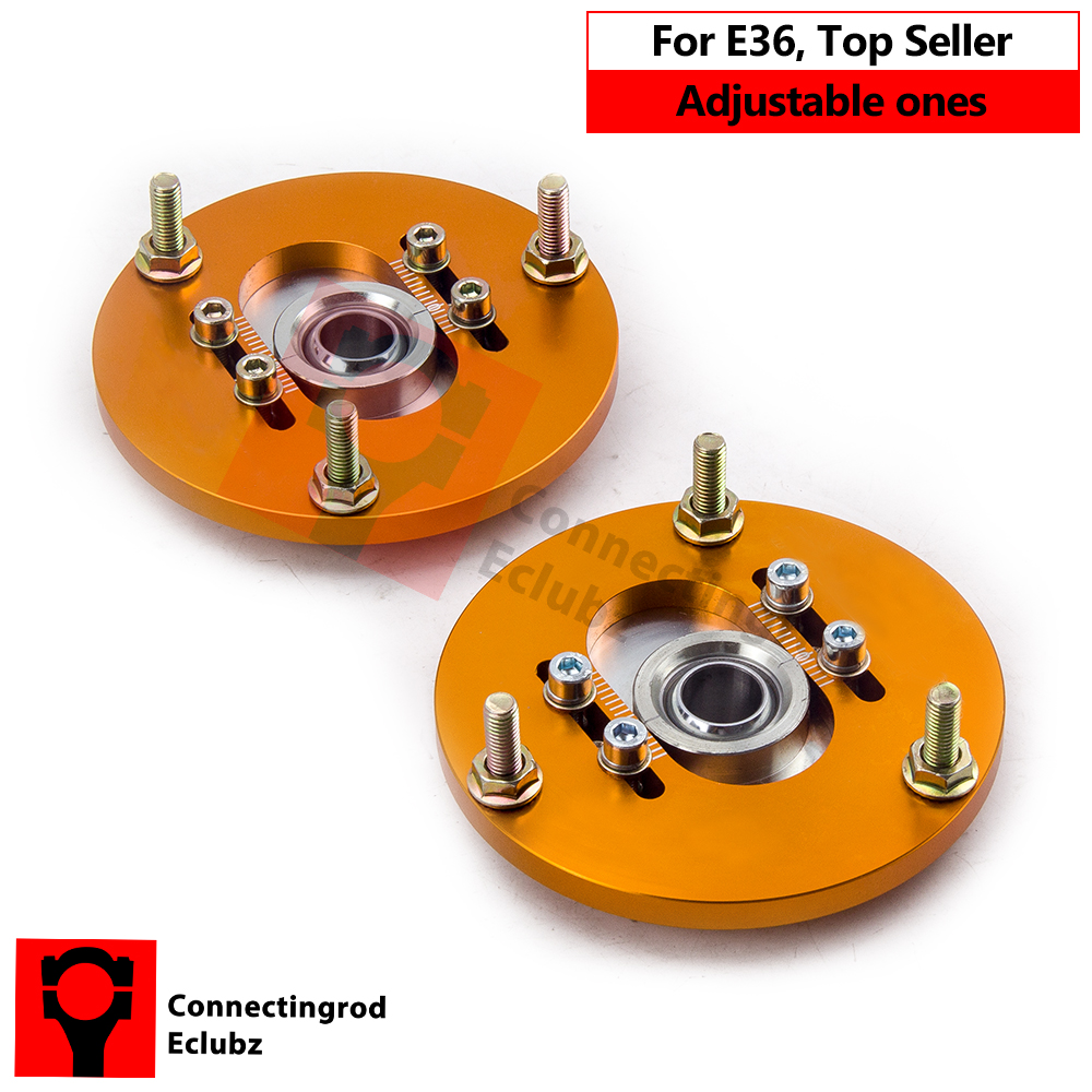 Coilover Camber Plate for BMW E36 3 Series 318ic 323i 323ic 323 M3 Caste Plates Alignment upper Mounts Suspension 91-99 GOLD for bmw 3 series e36 318 328 323 325 front coilover strut camber plate top mount green drift front domlager top upper mount
