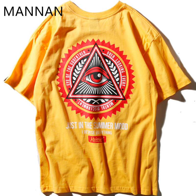 MANNAN Harajuku   T     Shirt   Men Cotton   T  -  shirt   off white Shine God Eye, Harajuku Short TShirt Men,Self-Highness
