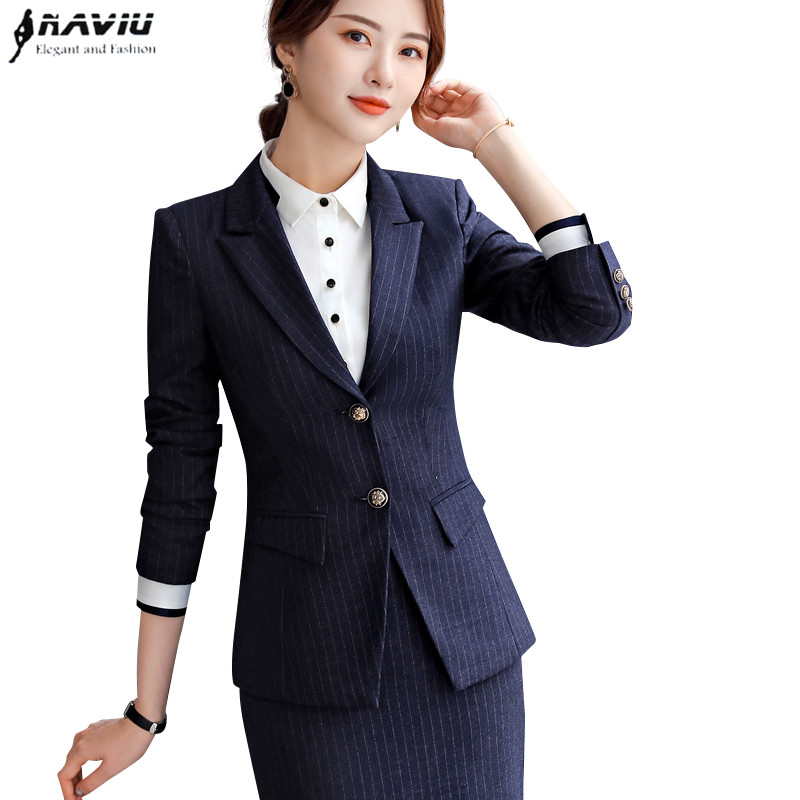2019 High quality fashion Stripes skirt suit Business formal long sleeve slim blazer and skirt office