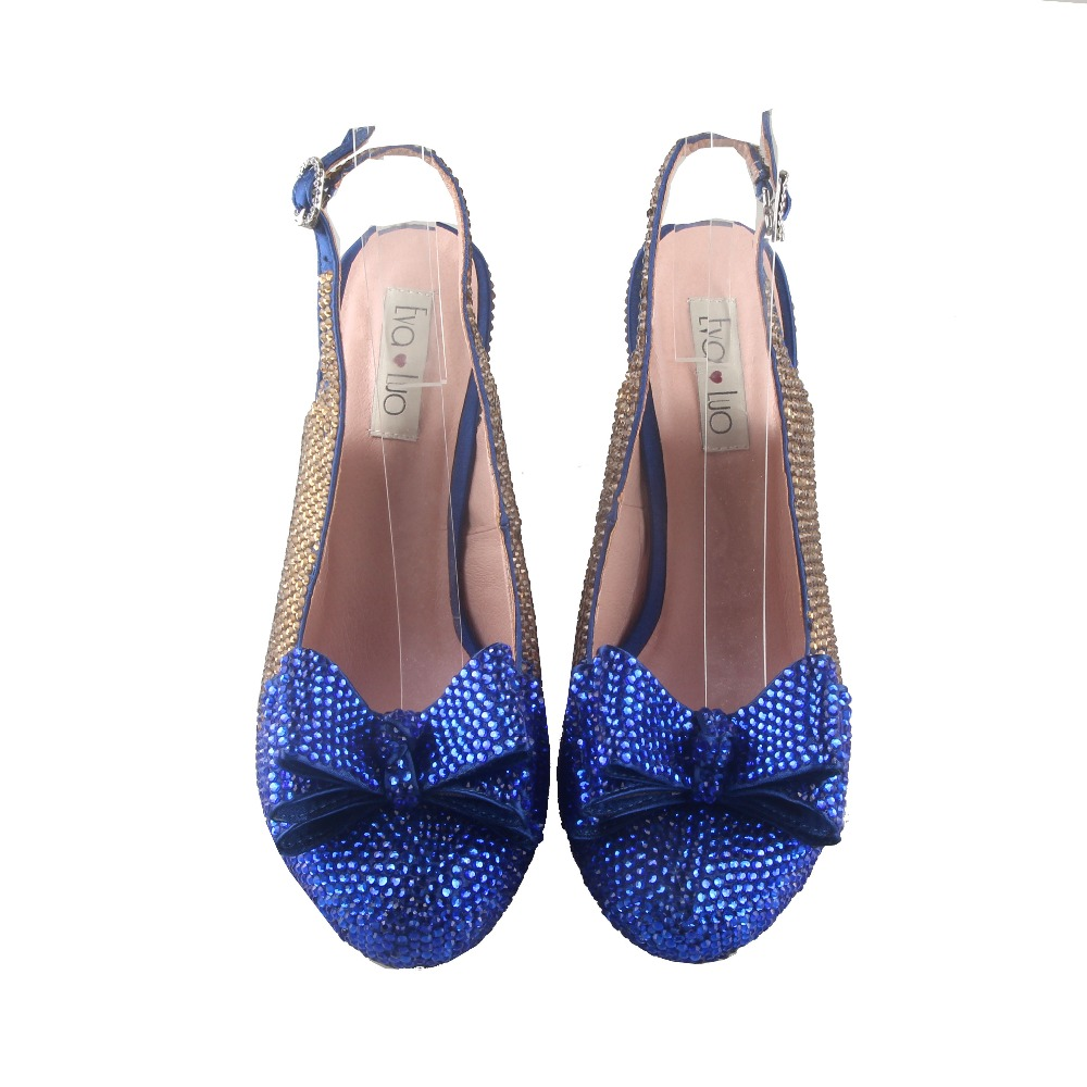 BS938 DHL hecho a medida zapatos de lazo de cristal de oro azul real con bolsas a juego conjunto de tacones de vestido de mujer Boda nupcial zapatos-in Zapatos de tacón de mujer from zapatos    2