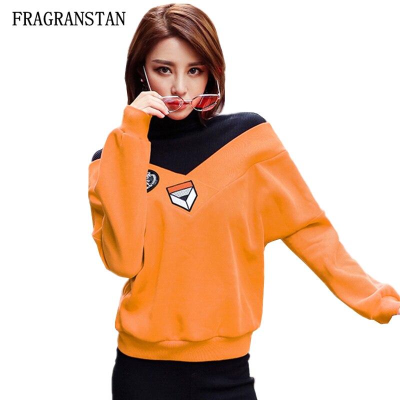 Lose Weiblichen Dame Frühling Mode Pullover Neue Rollkragen Sweatshirts Patchwork Beflockung Top Qualität Hohe Orange Q653 Herbst Stickerei rBeQoEdCWx