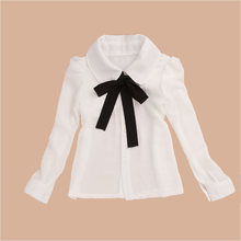 Shirts For Girls Chiffon Teenage School Uniform Big Kid Format White Blouse Bow Full Sleeve Baby Clothes Good Quality Girls Top(China)